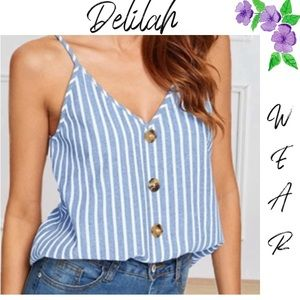 Women's V-Neck button up  striped tank top